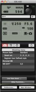 EOS Utility - tethered shooting