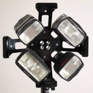 EzyBox Quad bracket with Speedlites fitted