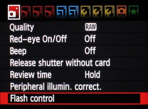 Camera flash control menu