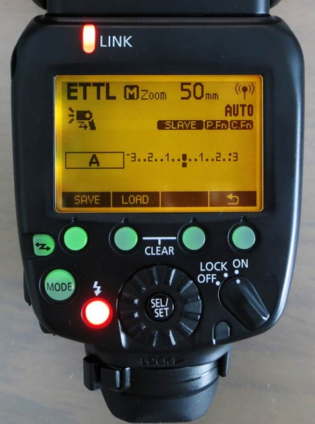 Saved settings screen on Speedlite 600EX-RT flash