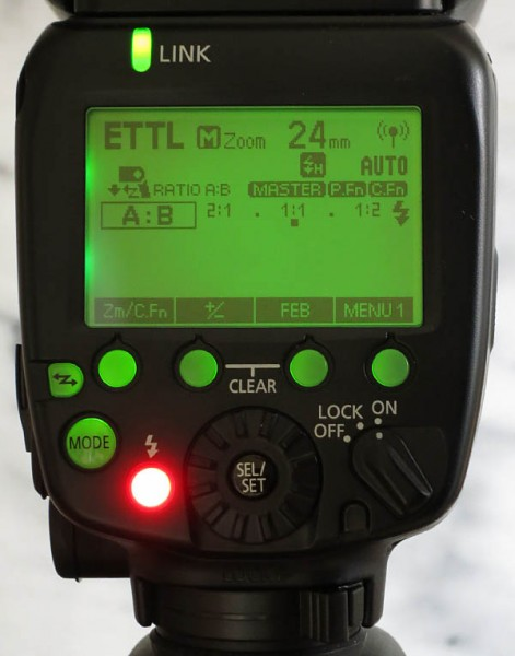 Speedlite 600EX-RT on EOS 7D set for E-TTL II ratio control A:B