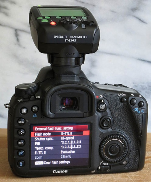 EOS 7D with Speedlite Transmitter ST-E3-RT set for high speed sync