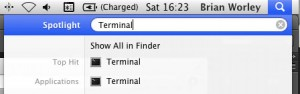 Mac OS X 10.7 spotlight search to find Terminal