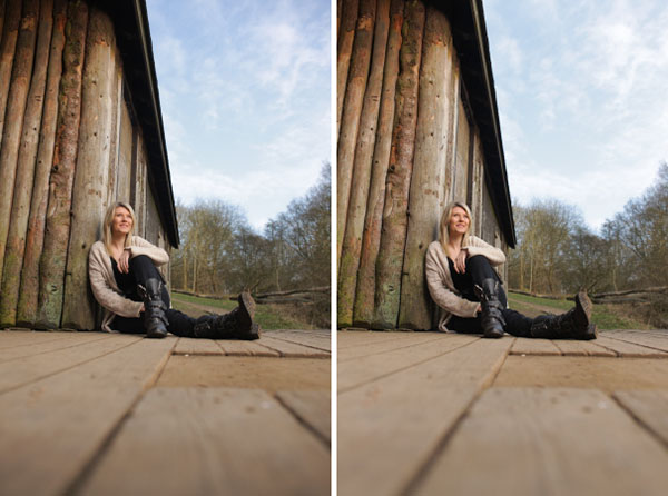 peripheral illumination correction effect side-by-side