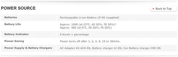 EOS 6D power specifications from Canon UK web site