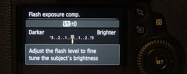 Custom controls to access EOS 6D flash exposure compensation