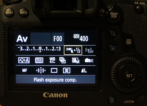 EOS 6D quick control display showing flash exposure compensation set on Speedlite 600EX-RT