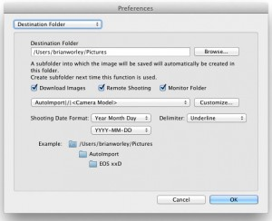 EOS Utility destination folder setting