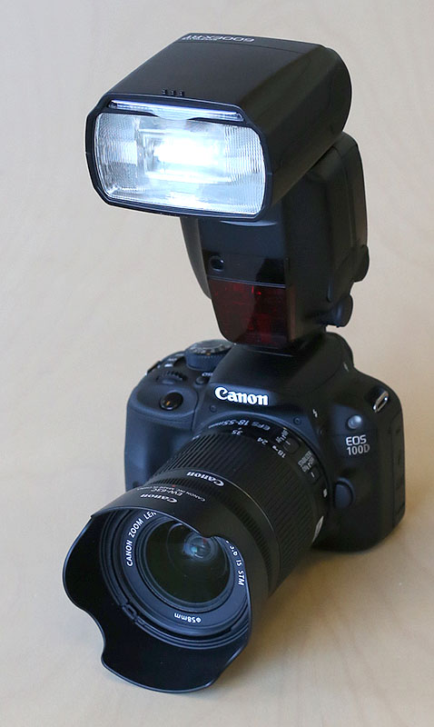 EOS 100D with EF-S 18-55mm f/3.5-5.6 IS STM and Speedlite 600EX-RT