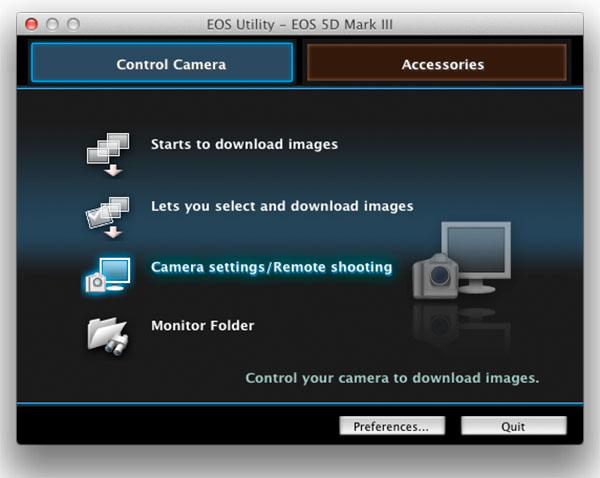 EOS Utility - choose camera settings / remote shooting