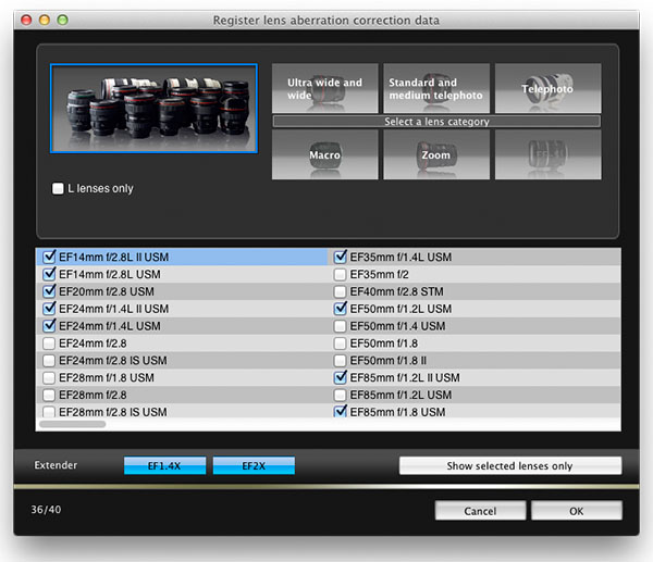 36/40 lens aberration correction profiles installed in my EOS 5D Mark III camera
