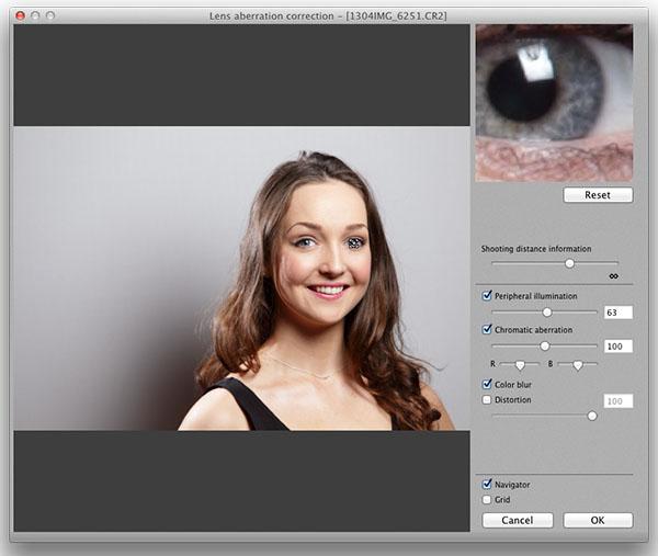 In-camera level of lens aberration correction for peripheral illumination