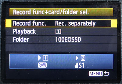 record separately to put RAW and JPG images on different memory cards