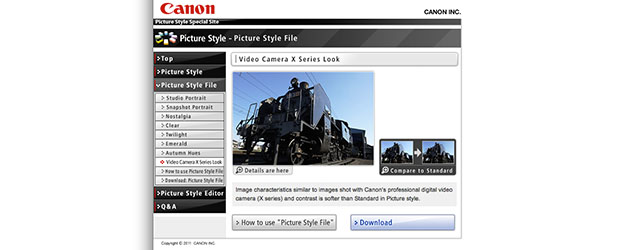 New Picture Style for EOS DSLRs to match Canon X-series videocameras