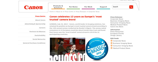 Canon the most trusted brand of camera in Europe for thirteenth year