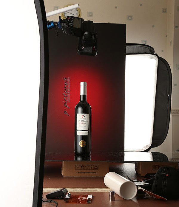 wine bottle photography behind the scenes setup
