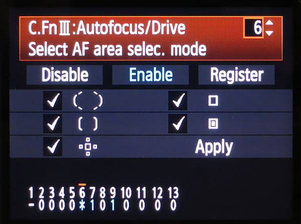 autofocus point selection - EOS 7D area selection custom function