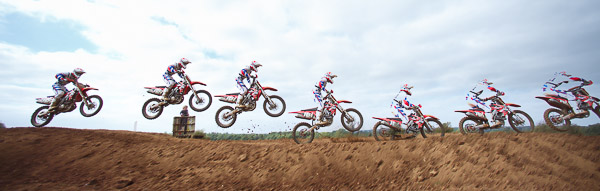 Multiple exposure of Red Bull Pro National Moto X