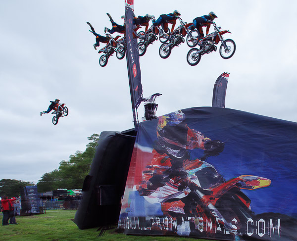 multiple exposure of Freestyle Motorcross at the Red Bull Pro Nationals