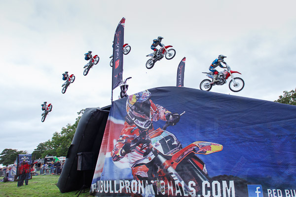 6-image multiple exposure of Freestyle Motorcross at the Red Bull Pro Nationals