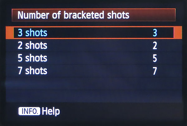 number of auto exposure bracketed shots