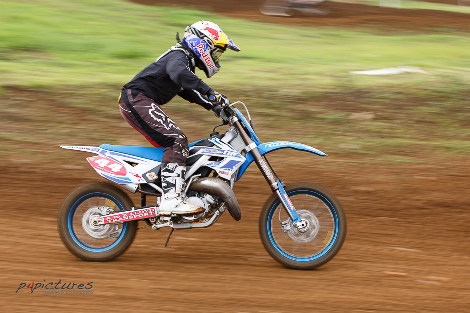 1/100s and panning the camera with the rider
