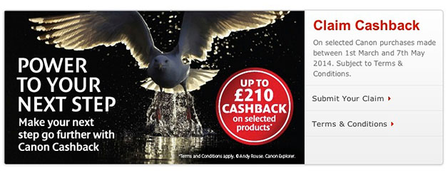 Canon UK Spring 2014 Cashback promotion