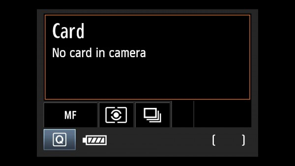 No card in camera so it won't take pictures