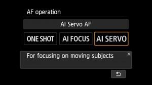 Back button AF - AI SERVO