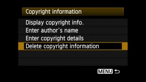 Deleting the copyright notice can be done in-camera