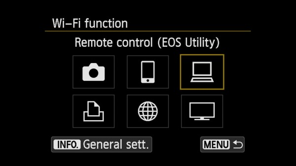 EOS 70D WiFi pairing with EOS Utility