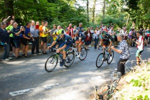 Stage 6 eventual winner Brandle, with Dowsett and Stewart lead the peloton by over six minutes up the climb of Chinnor Hill