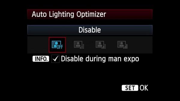 Auto Lighting Optimizer settings  for EOS 5D Mark III