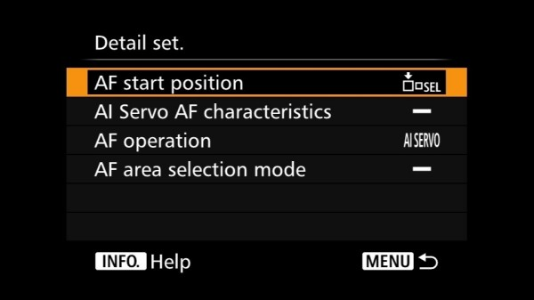 Back button AF settings for EOS 7D Mark II