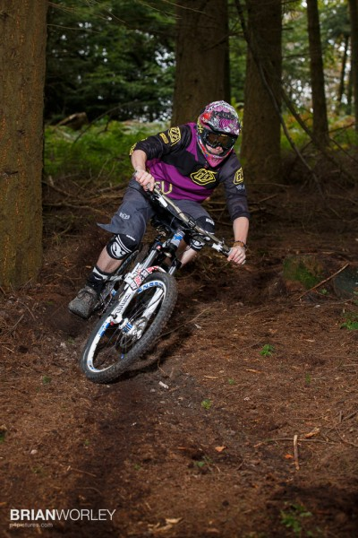 Hindhead, Surrey. 17 October 2015. Downhill mountain bikers at the Devil's Punchbowl. photo by Brian Worley