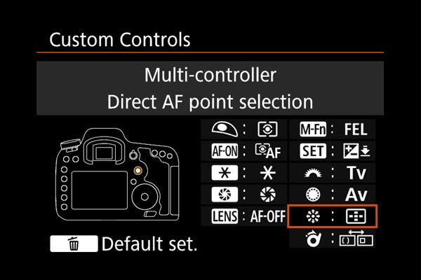 AF settings EOS 7D Mark II