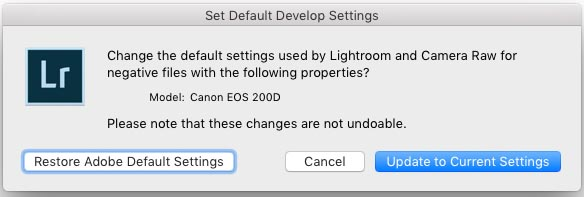 Lightroom default settings