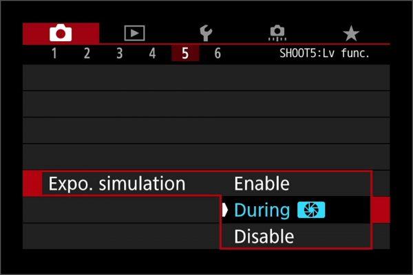 live view exposure simulation