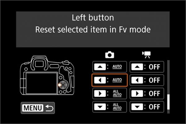 EOS R and EOS RP are configured with the cross keys to reset Fv mode to automatic settings