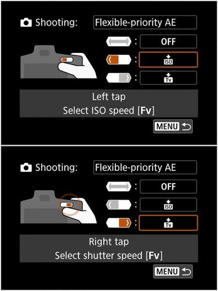 EOS R M-Fn bar has dedicated settings for Fv mode