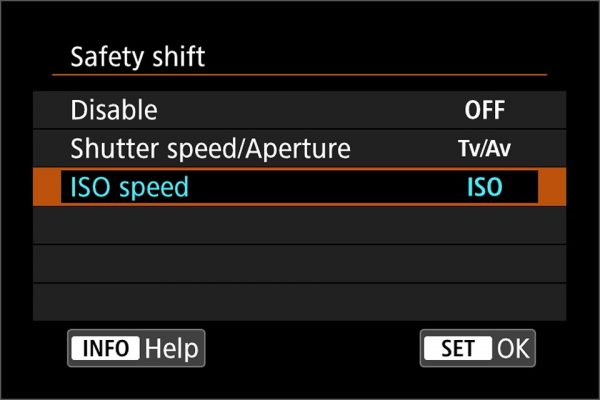 EOS R safety shift with ISO speed