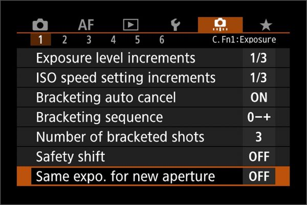 same exposure new aperture