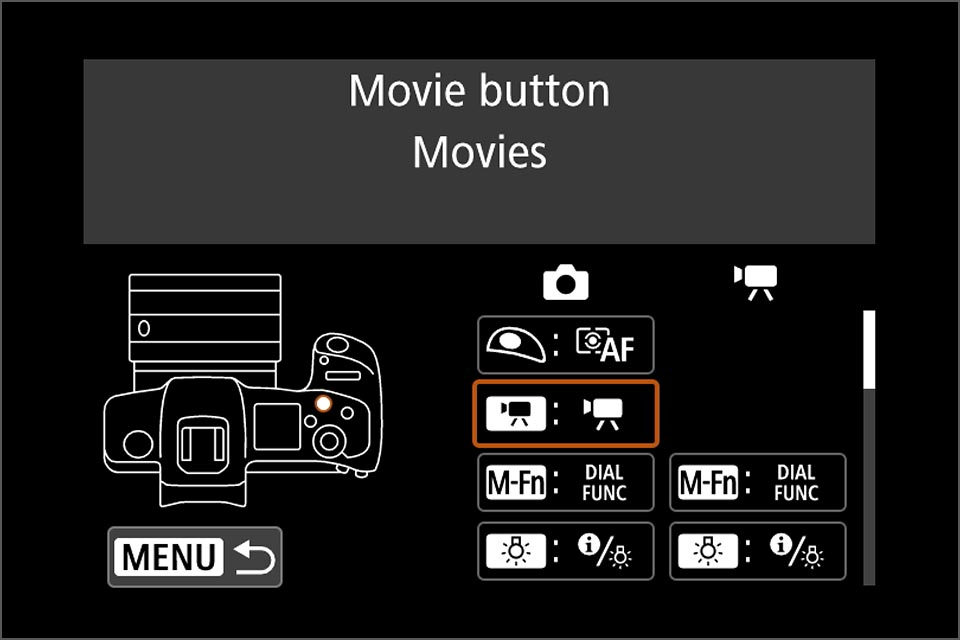 Direct AF selection with movie button