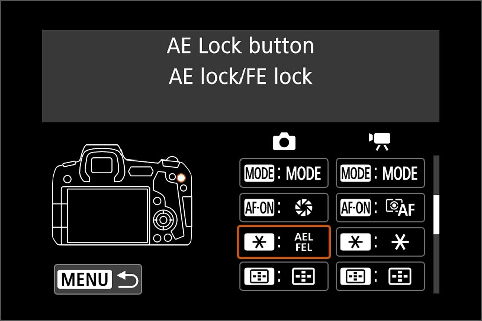 EOS R custom button for flash exposure lock