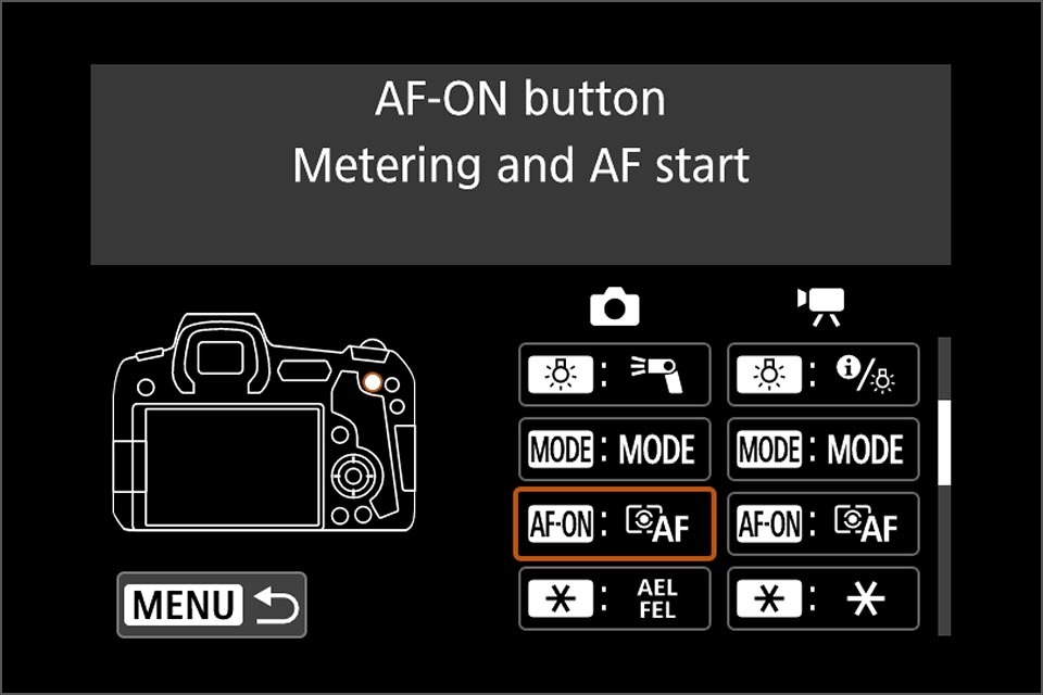 EOS R depth of field preview button