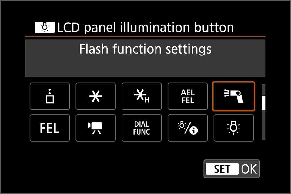 EOS R custom button for quick access to flash settings
