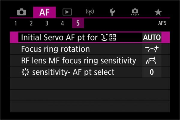 Initial point for face detection in servo AF