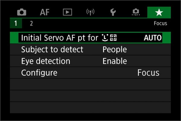 EOS R6 / R5 my menu for AF