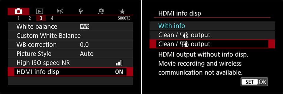 EOS 90D clean HDMI settings
