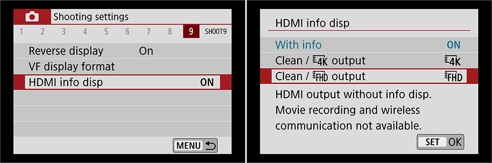 EOS M50 Mk II clean hdmi